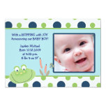 HOPPY FROG Baby Photo birth Announcement 13 Cm X 18 Cm Invitation Card