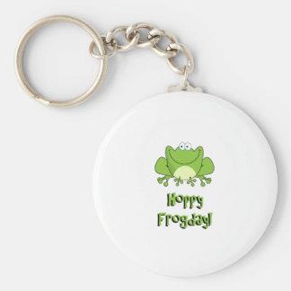 Hoppy Frogday! Happy Friday Frog Basic Round Button Key Ring