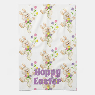 Hoppy Happy Easter Bunny Colorful Springtime Tea Towel
