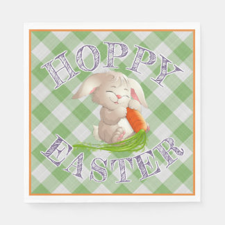 Hoppy Happy Easter Bunny Green Gingham Pattern Disposable Serviette