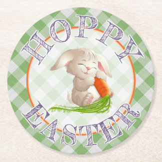Hoppy Happy Easter Bunny Green Gingham Pattern Round Paper Coaster