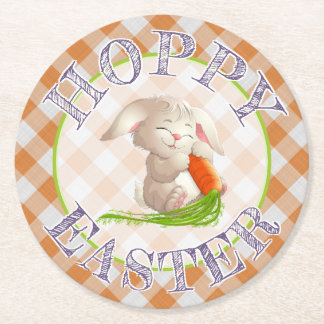 Hoppy Happy Easter Bunny Orange Gingham Pattern Round Paper Coaster