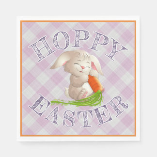 Hoppy Happy Easter Bunny Pink Gingham Pattern Disposable Serviette