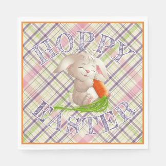 Hoppy Happy Easter Bunny Stripes And Plaid Pattern Disposable Napkin