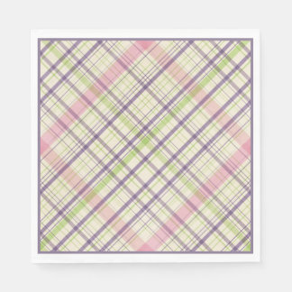 Hoppy Happy Easter Bunny Stripes And Plaid Pattern Paper Napkin