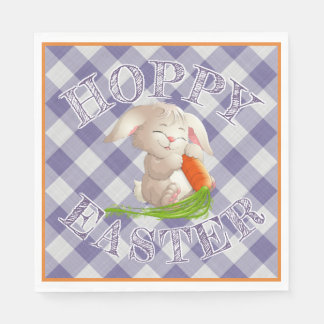 Hoppy Happy Easter Bunny Violet Gingham Pattern Disposable Serviette