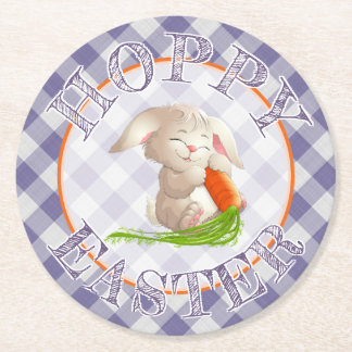 Hoppy Happy Easter Bunny Violet Gingham Pattern Round Paper Coaster
