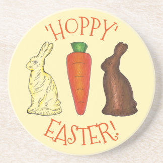 Hoppy Happy Easter Chocolate Bunny Rabbit Carrot Coaster