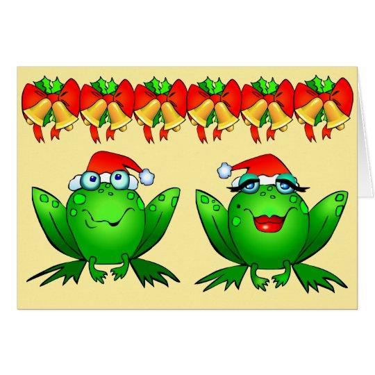 Hoppy Holidays Cartoon Frogs Santa Hats Bells Card