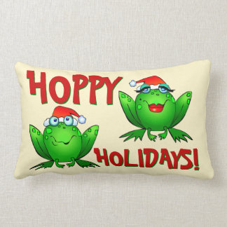 Hoppy Holidays Cartoon Green Frogs Red Letters Lumbar Cushion