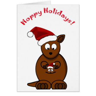 Hoppy Holidays Christmas Kangaroo and Joey Card
