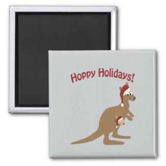 Hoppy Holidays! christmas Kangaroo Square Magnet