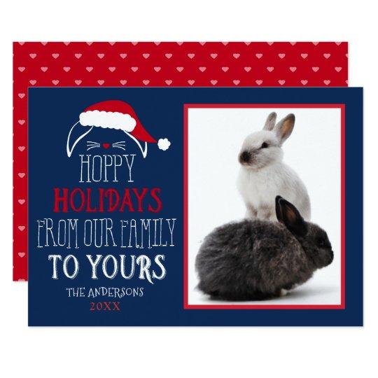 Hoppy Holidays Pet Rabbit Photo Flat Card