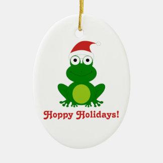 Hoppy Holidays Santa Frog Christmas ornament