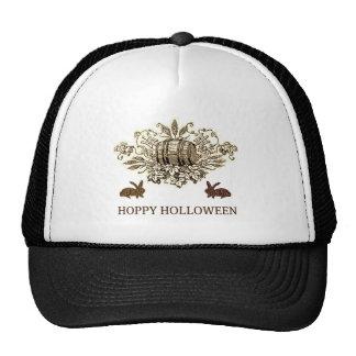 HOPPY HOLLOWEEN VINTAGE BEER KEG AND RABBIT PRINT TRUCKER HATS