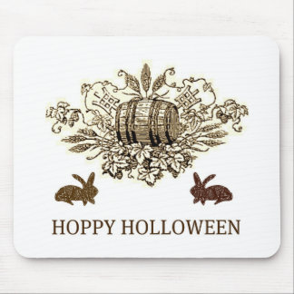 HOPPY HOLLOWEEN VINTAGE BEER KEG AND RABBIT PRINT MOUSE PADS