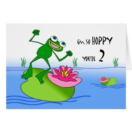 Hoppy Second Birthday, Funny Frog at Pond Greeting Cards