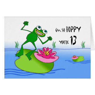 Hoppy Thirteenth 13th Birthday, Funny Frog at Pond Cards