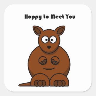 Hoppy to Meet You Kangaroo Cartoon Stickers