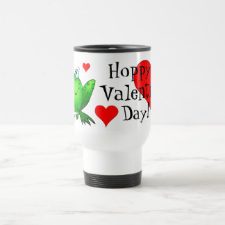 Hoppy Valentine's Day Cute Cartoon Frog Travel Mug