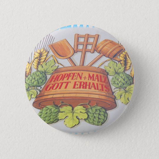 Hops and Malt 6 Cm Round Badge