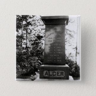 Horatio Alger's grave in Natick, Massachusetts 15 Cm Square Badge