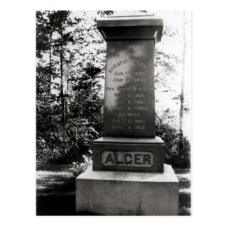 Horatio Alger's grave in Natick, Massachusetts Postcard