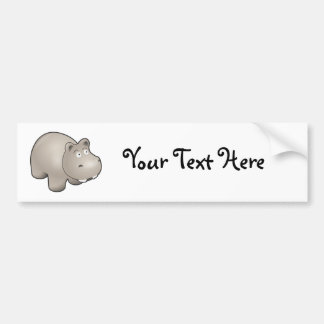 Horatio the Heroic Hippo Cute Cartoon Animal Bumper Sticker