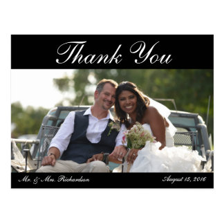 Horiz. B&W Custom Wedding Photo Thank You Postcard