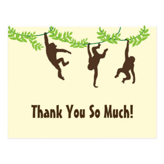 Horiz. Hanging Monkey Thank You Postcard