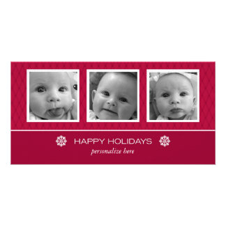 Horizontal 3-photo card personalized photo card