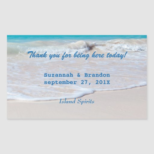 Horizontal Beach Wedding Personal Wine Labels Rectangle Sticker