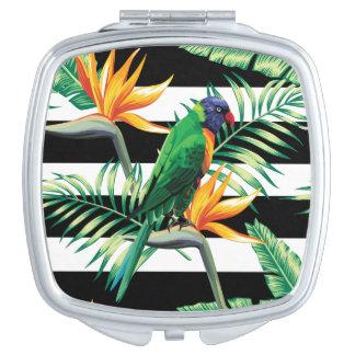 Horizontal Black And White Stripes And Bird Vanity Mirror