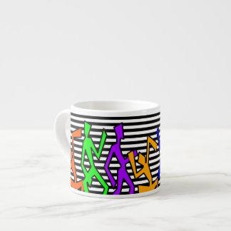 Horizontal Black and White Stripes Espresso Mug