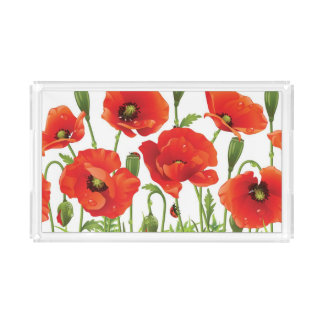 Horizontal border with red poppy acrylic tray