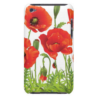 Horizontal border with red poppy barely there iPod cover