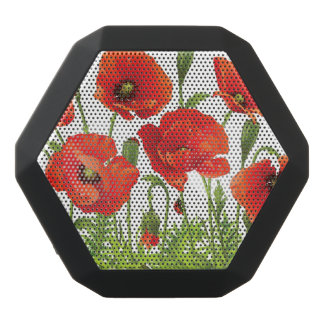 Horizontal border with red poppy black bluetooth speaker