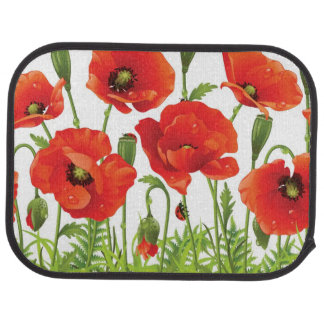 Horizontal border with red poppy car mat