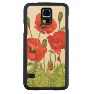 Horizontal border with red poppy carved maple galaxy s5 case