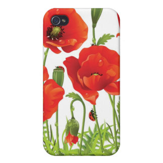 Horizontal border with red poppy cases for iPhone 4