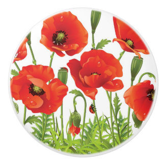 Horizontal border with red poppy ceramic knob