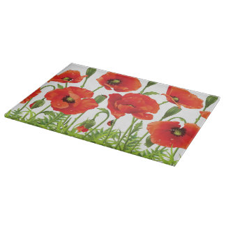 Horizontal border with red poppy cutting board