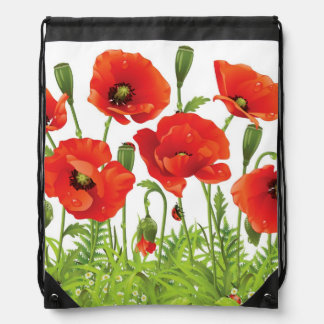 Horizontal border with red poppy drawstring bag