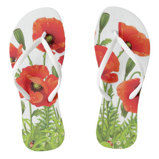 Horizontal border with red poppy flip flops