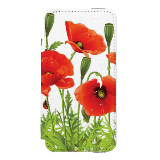 Horizontal border with red poppy incipio watson™ iPhone 5 wallet case