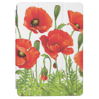 Horizontal border with red poppy iPad air cover
