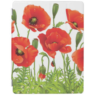 Horizontal border with red poppy iPad cover