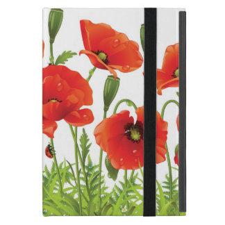 Horizontal border with red poppy iPad mini case
