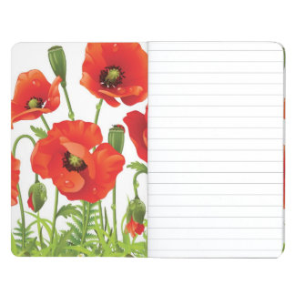 Horizontal border with red poppy journal