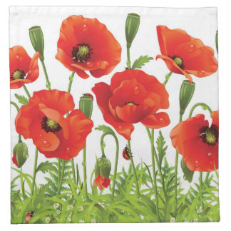 Horizontal border with red poppy napkin